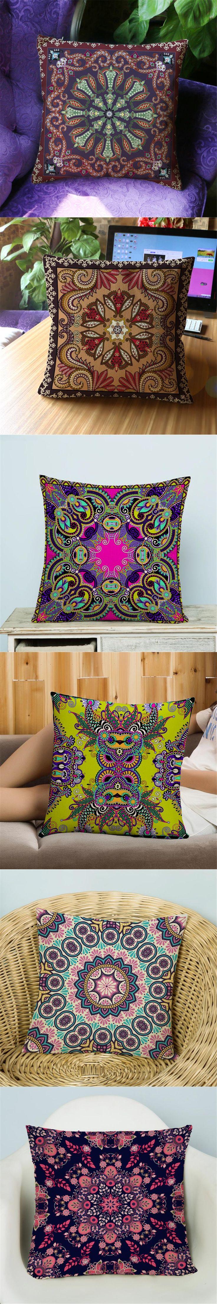 Bohemian Decoration For Home Decor Pillow Case Pouf Scandinavian Capa Almofada National Pop Art Cushion Cover For Sofa e840