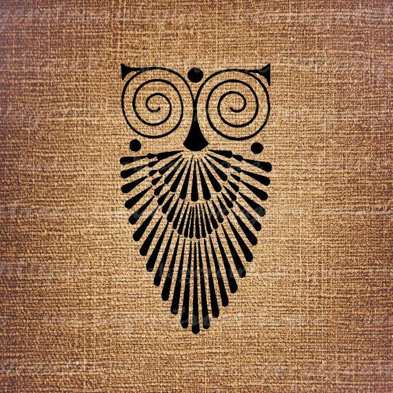 Art Deco Owl Image Graphic Download Bird by VintageRetroAntique