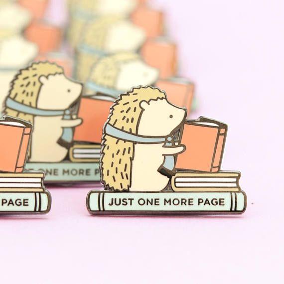 Mini Hedgehog Book Pin hedgehog enamel pin cute enamel pin