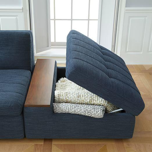 Plateau 3-Piece Storage Chaise Sectional w/ Ottoman