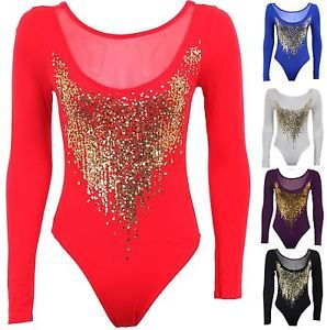 Womens-Gold-Sequin-Long-Sleeve-Mesh-Insert-Low-Back-Leotard-Ladies-Bodysuit