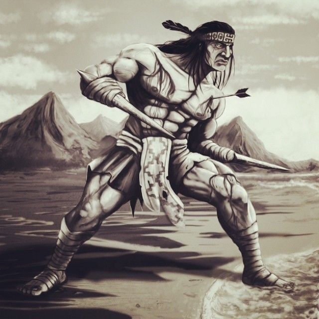 Galvarino a famous Mapuche tribesmen who was incarcerated for acting against the Spanish was chosen to get his hands choped off and then joined rival forces,With knives fastened on both mutilated wrists replacing his hands he fought next to Caupolicán; truly one of the most badass natives