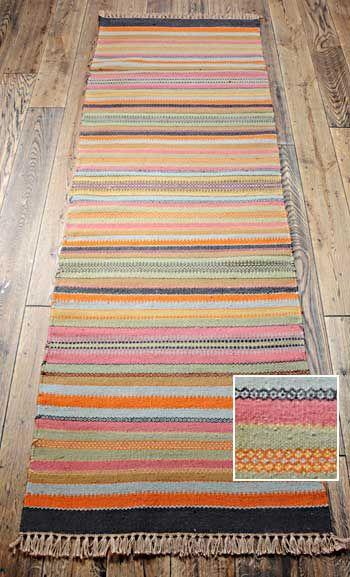 Stripey Indian Runner Rug In Wool With Jute 75 X 240cm