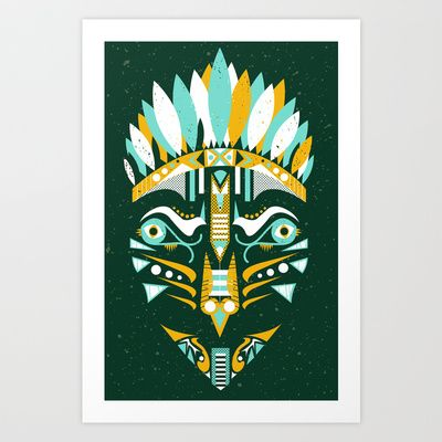 Indian mask II Art Print by Ewelina Kosnik - $18.20