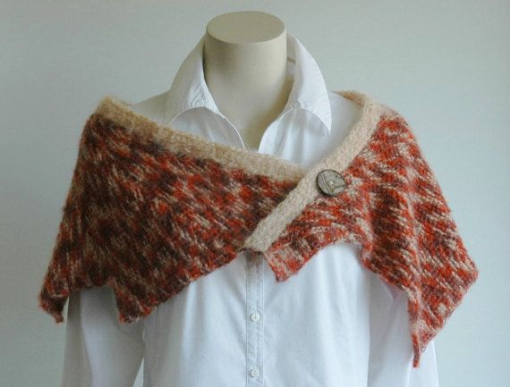 Shawl in autumn colours wool mohair Tunisian by KororaCrafters