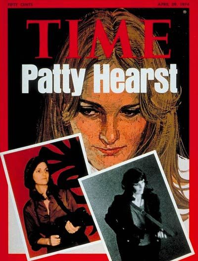 Left to right: Polaroid of Patty Hearst taken by a captor and picture taken by surveillance camera in the Hibernia Bank