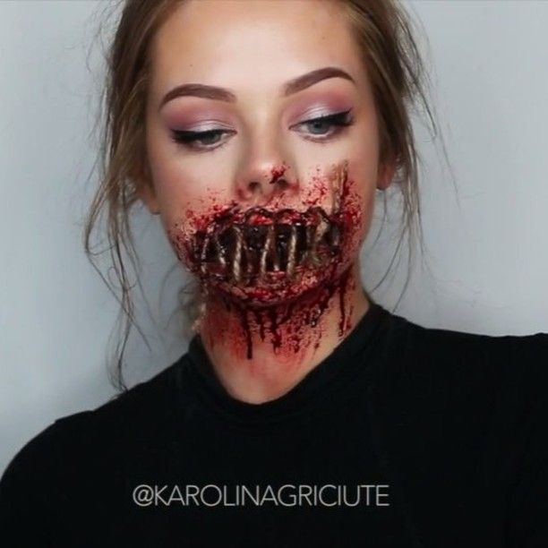 "51.3k Likes, 1,570 Comments - MAKEUP BY KAROLINA MARIA  (@karolinagriciute) on Instagram: ""✖️ SEWEN SHUT ✖️Direct link in bio to the full tutorial!  Products:  @bennyemakeup Liquid Latex,…"""