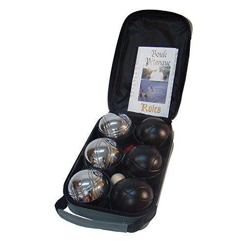 Sunsport Provence Set de 6 boules 7,3 cm: 6 Pétanque Boules, 3 argent + 3 noir, 720mm 1 petit boule, 1 mesure de fil, 1 étui, Règles du…