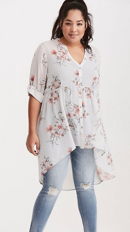 Plus Size Floral Print Chiffon Button Tunic