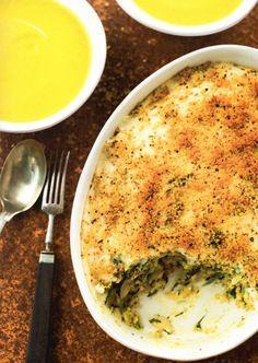 Bacalhau com Espinafres e Cenoura e Creme de Curgete e Cenoura