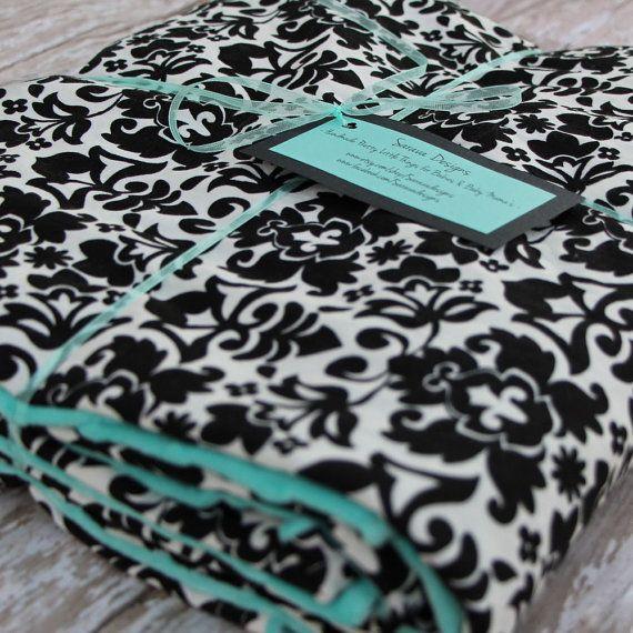 """Throw Blanket - Tiffany Blue & Black Damask - 42"""" by 70"""""""