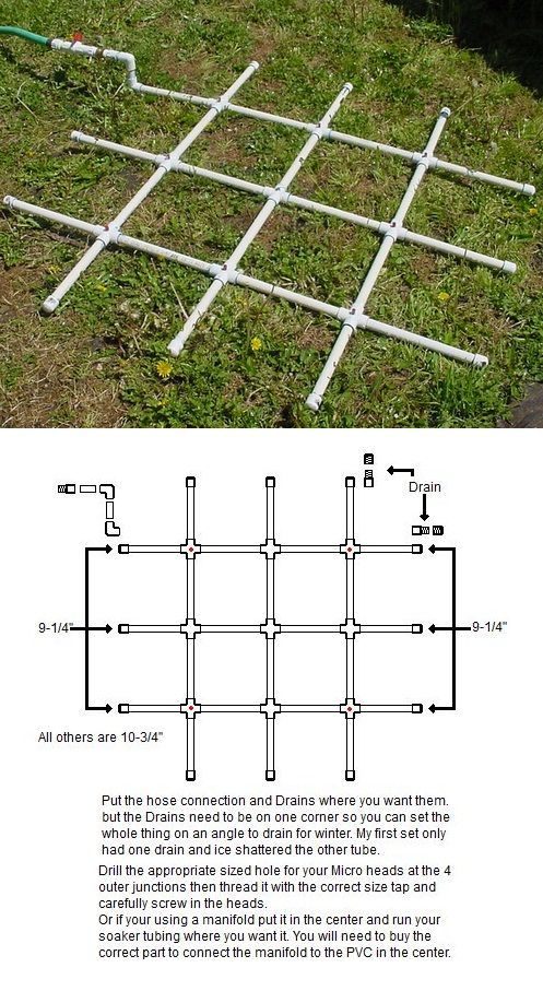 PVC Watering Grid Tutorial on Square Foot Gardening at http://squarefoot.creatingforum.com/t11301-pvc-watering-grid: