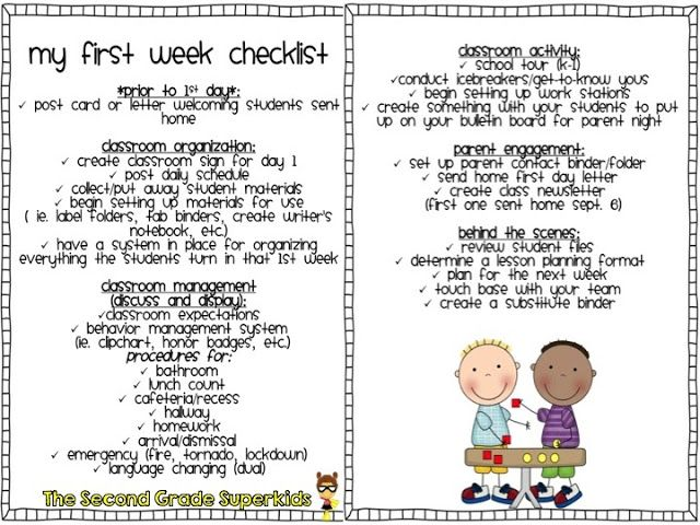 First Week of School Checklist for new teachers- Everything you should have done prior/during the first week back!