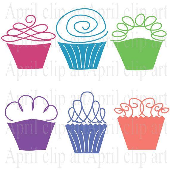 INSTANT DOWNLOAD 6 Cupcake set Digital Clip Art by aprilhovjacky, $4.00