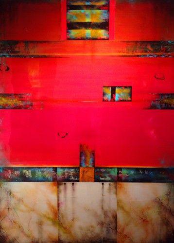 In Medias Res by Tony Griffith, acrylic/resin/panel, $5600. #redart #redgreenorchristmas #tonygriffithart #santafe #santafeholiday