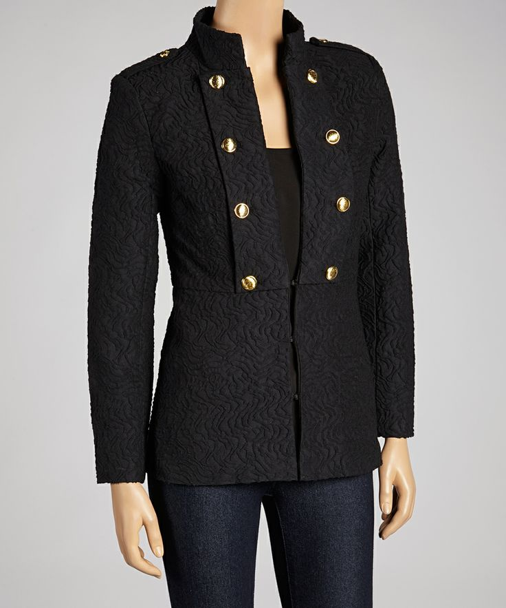 Black Textured Mandarin Jacket | Daily deals for moms, babies and kids