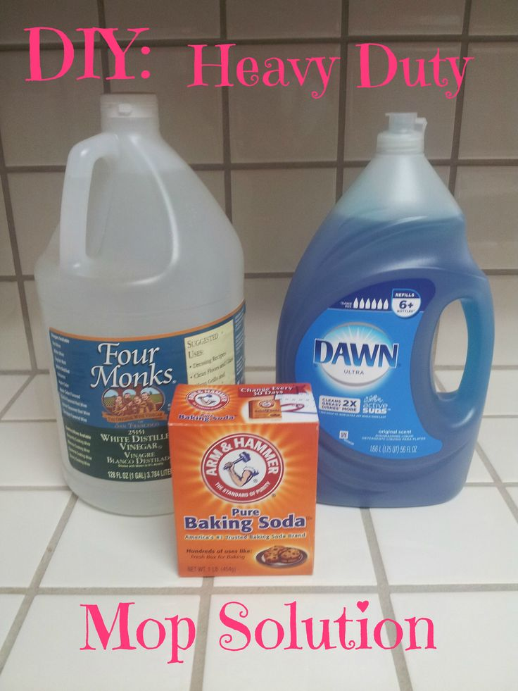 Heavy Duty Mop Solution 1/4 cup white vinegar 1 tablespoon liquid dish soap 1/4 cup baking soda 2 gallons tap water, very warm Directions: Place all the ingredients into a bucket and mix well until sudsy. You really want to make sure you dissolve the baking soda in the water so it doesn't leave a cakey film on your floor. Mop the area with the solution. Enjoy your fresh smelling, clean floor!