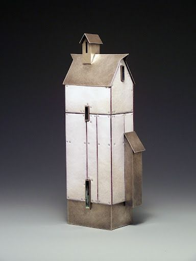 Tall White Barn Sterling, copper, nickel, vitreous enamel