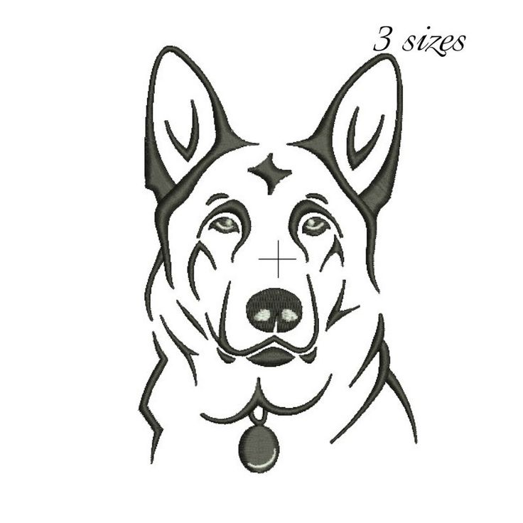 German Shepherd embroidery design machine embroidery design Digital Download  instant dog head design by GretaembroideryShop on Etsy