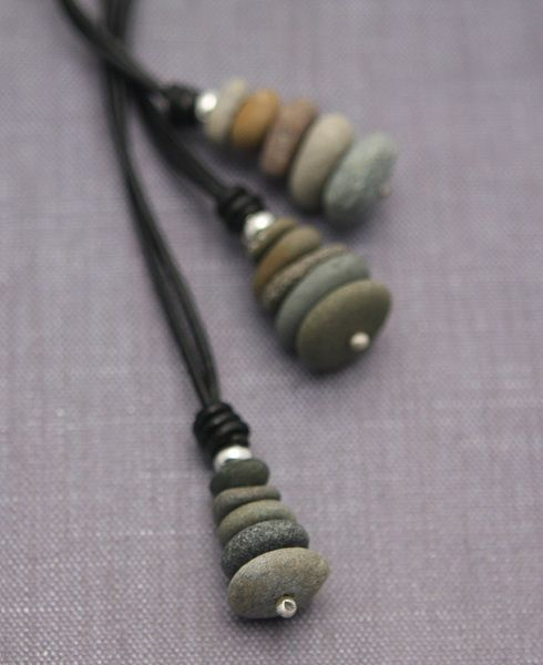 Zen stones pendant necklace on a leather cord