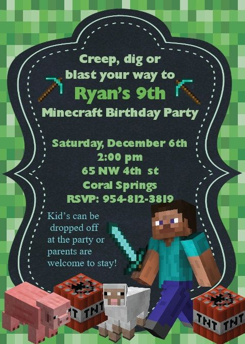 Minecraft Invitation by PrettyPeacockPartys on Etsy