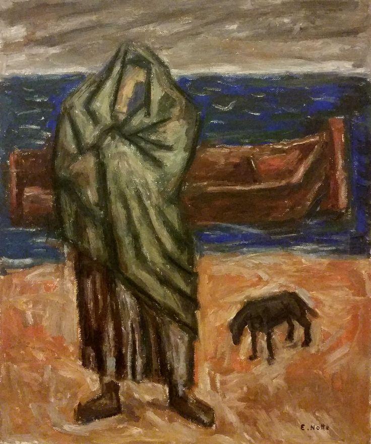 Emilio Notte (Ceglie Messapica (Br) 1891 - Napoli 1982) Sulla spiaggia di Vulcano 1950 olio su tela cm 40x50 Napoli Coll. Privata