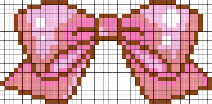 Cute Pink Bow perler bead pattern