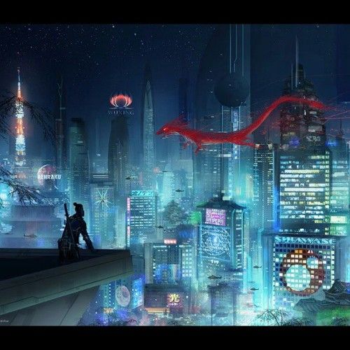 momarkmagic:  Neo Tokyo - Mood setting concept for ShadowRun (cropped) 2013 (c) Catalyst Game Labs / TOPPS #art #conceptart #digitalart #env...