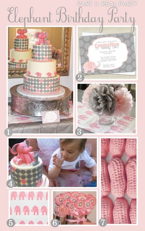 I got some fabulous pictures last week from a client, Monica, who had thrown an elephant-themed party for her daughter's first birthday.  She took a simple pink and grey elephant invite from Swanky...