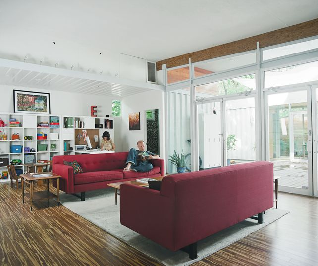 Shipping container home :)) Beautiful Floors!!: The Doors, Container Homes, Living Spaces, Glasses Doors, Living Rooms Furniture, Shipping Containers, Houston Texas, Ships Container Home, Ships Container Houses