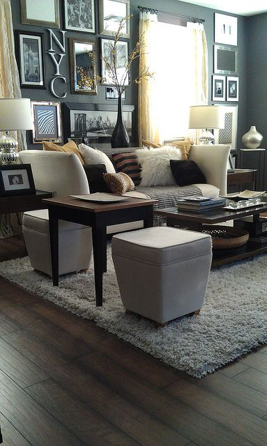 beautiful gray white living room....