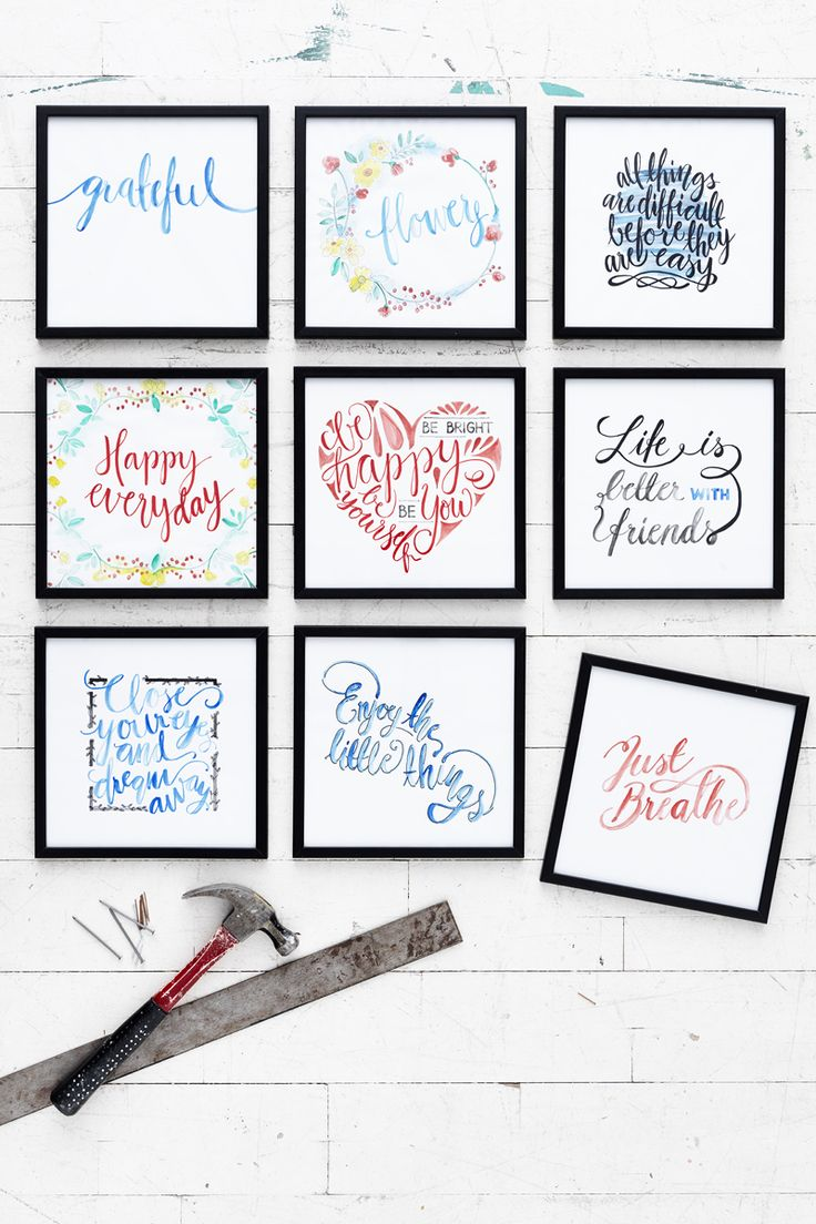 Brush lettering www.panduro.com Art by Panduro #decoration #DIY #brushlettering #wallhanging  #frame #art #panduro