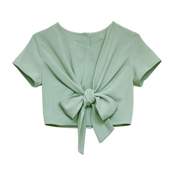 SS11 Lula's Untie me Tee 20% OFF (405 PEN) ❤ liked on Polyvore featuring tops, t-shirts, shirts, crop tops, crop top, shirt crop top, green t shirt, crop tee and t shirts