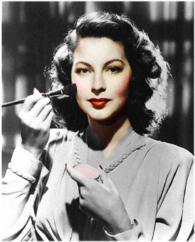 Authentic 1940s Makeup History and Tutorial. Rouge (blush) applied to the center and brushed up and out to the cheekbones.