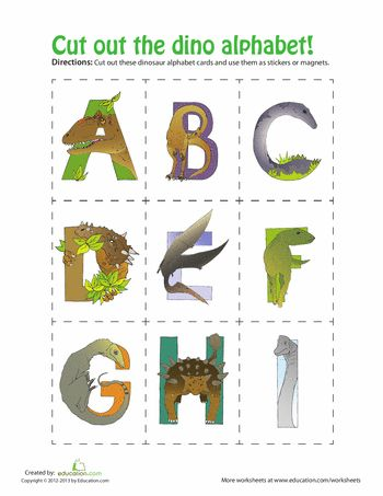 Worksheets: Dinosaur Alphabet