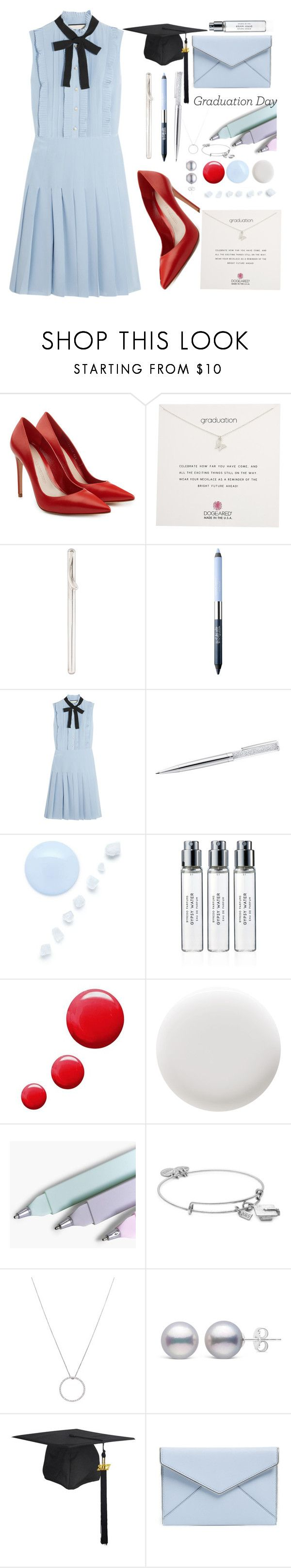 """🎓💙"" by ddk8699 ❤ liked on Polyvore featuring Alexander McQueen, Dogeared, Tiffany & Co., Estée Lauder, Gucci, Byredo, Topshop, Deborah Lippmann, Boohoo and Alex and Ani"
