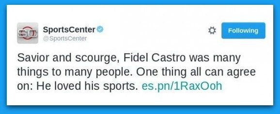 ESPN SportsCenter Deletes Tweet After Praising Fidel Castro – BB4SP