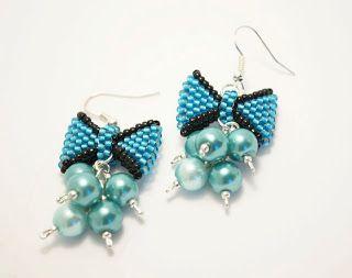 kolczyki, plecione kokardki/ beaded bow earrings