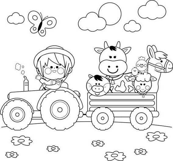 Happy Vintage Tractor Cartoon Coloring Page Tractor Coloring Pages Farm Animal Coloring Pages Farm Coloring Pages