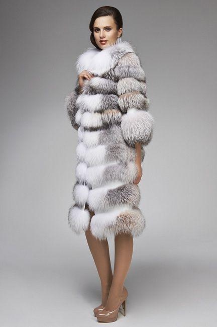 Natural Cross Fox Fur Coat