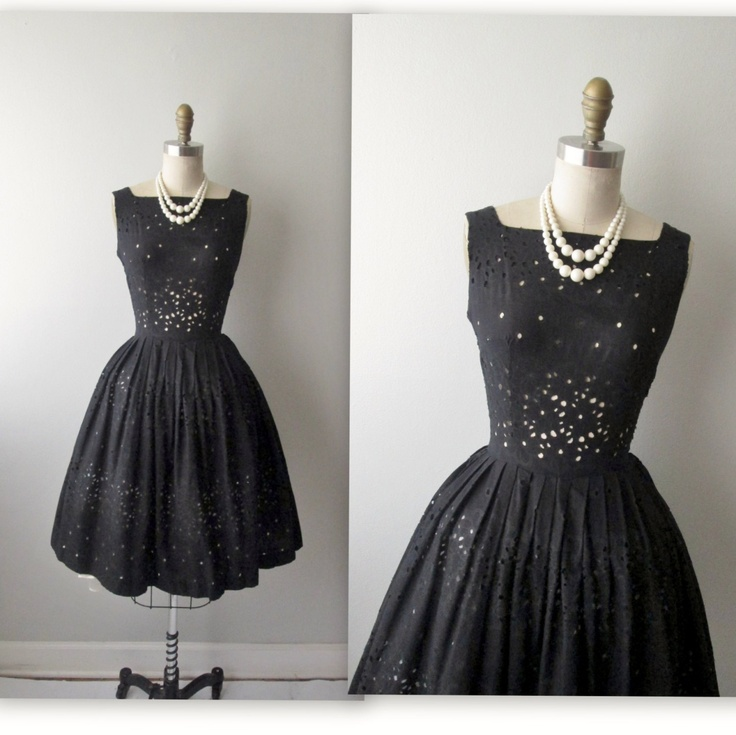 Vintage 1950's Black Cutout Cotton Full Garden Party Cocktail Dress XS.