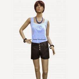 Pantalones cortos de las mujeres de cuero con botón vuelan por encargo ordenar - Leather4gay