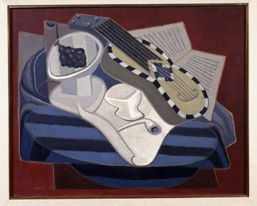 This work is an example of the mastery that Gris attains in Synthetic  Cubism. This type of Cubism would begin by reducing compartmentalization  and enlargin...