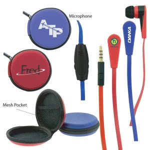 50 working days - microphone ear buds with zippered case for mobile 5000 for $4.99