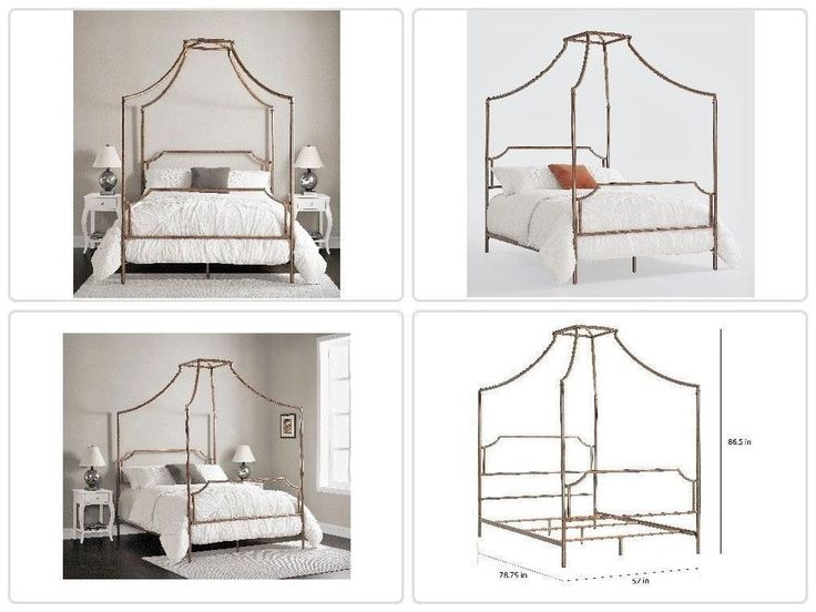 #Metal #Brushed Dark Copper Colored Full-size #Canopy #Bed Powder-coated Finish New