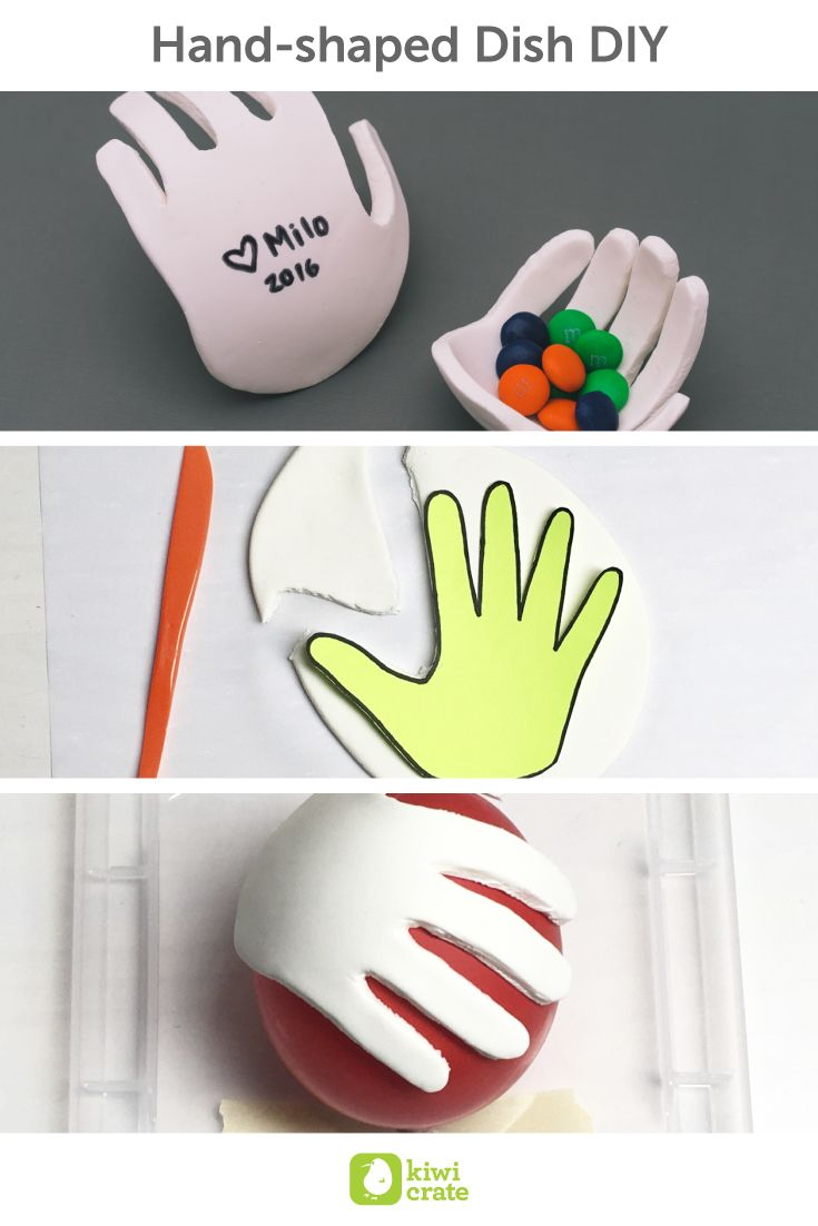 Hand-shaped Dish DIY! Kids grow up so fast. In just a few years their hands will be from itty bitty to nearly rivaling your own!! A few years ago, my little one could barely hold an apple. What will they be like in a few more years? Try this twist on the classic handprint in clay to capture a memory of your little ones!
