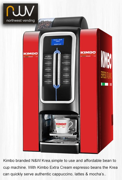 N&W Krea, an elegant and from £1.90 a day, affordable bean to cup machine. Use Kimbo Extra Cream for authentic espresso based drinks. Click the link to our website to order yours.  #vending, #N&WKrea, #kimbo, #welovekimbo, #coffee, #beantocup