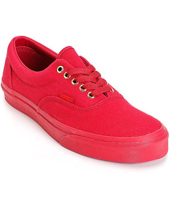 Brighten your outfits with a monochromatic all red canvas upper with gold metal eyelet accents and a red Vans waffle tread pattern for grip.