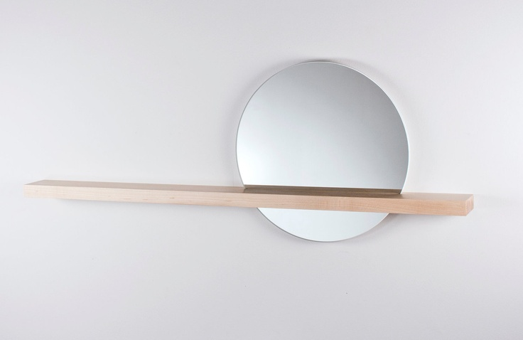 rise set mirror 14 round mirror and solid wood shelf. Black Bedroom Furniture Sets. Home Design Ideas