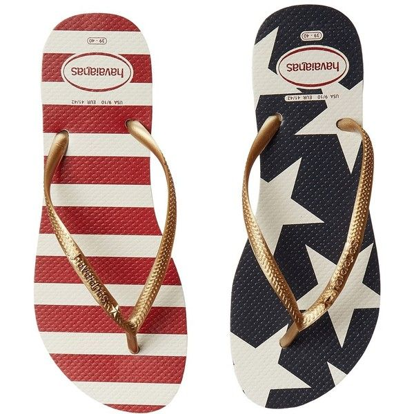 Havaianas Slim Stars and Stripes Sandal (White/Navy) Women's Sandals ($32) ❤ liked on Polyvore featuring shoes, sandals, flip flops, star shoes, havaianas shoes, navy white shoes, striped shoes and navy blue flip flops